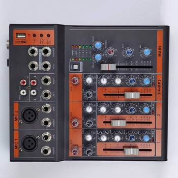 Mixing Console 4 Channel Digital Mic Line Audio Mixer Console with Reverb Effect for Recording DJ Stage(EU Plug)