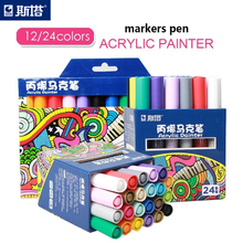 Sta 12/24 Kleuren/Set Acryl Permanente Schilderen Marker Pen Voor Keramische Rock Glas Porselein Mok Hout Stof Canvas Art tekening