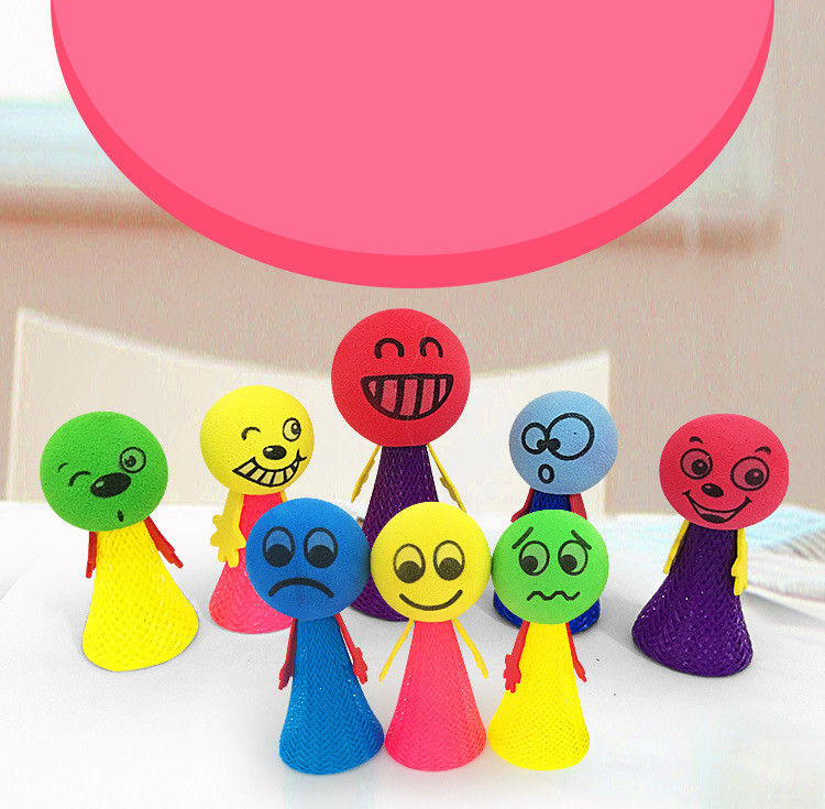 Image 5 - Decompression toys Jumping Doll Kids Bounce Ball Toys Educational Game Expressions Push&DownToys Gifts for Children Random-in Craft Toys from Toys & Hobbies