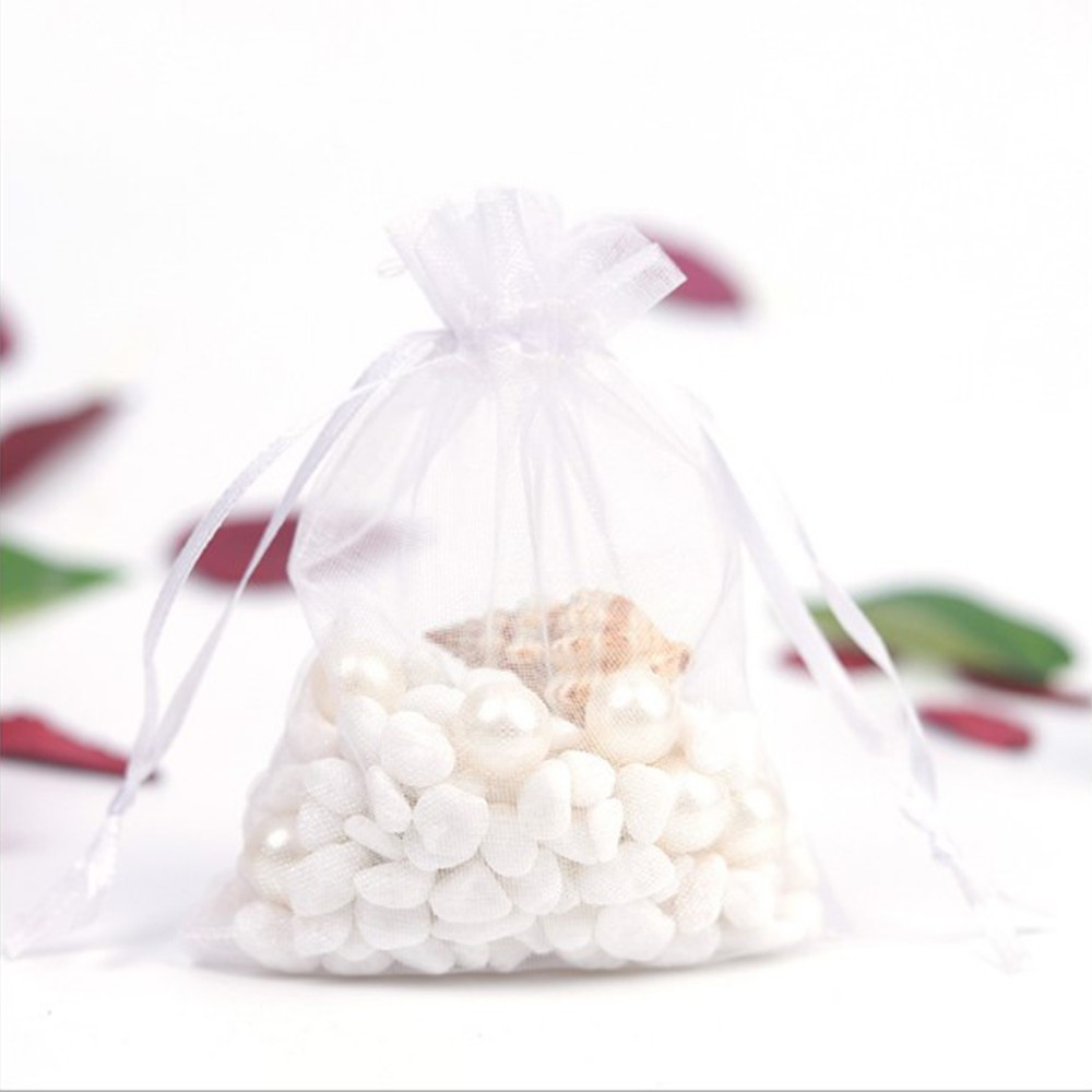 7*9cm 100pcs candy cosmetic sample package bags Organza gift bag with Beam mouth for wedding