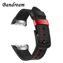 Double Color Genuine Leather Watchband for Samsung Gear Fit 2 SM R360 / Fit2 Pro SM R365 Smart Watch Band Wrist Strap Wristband