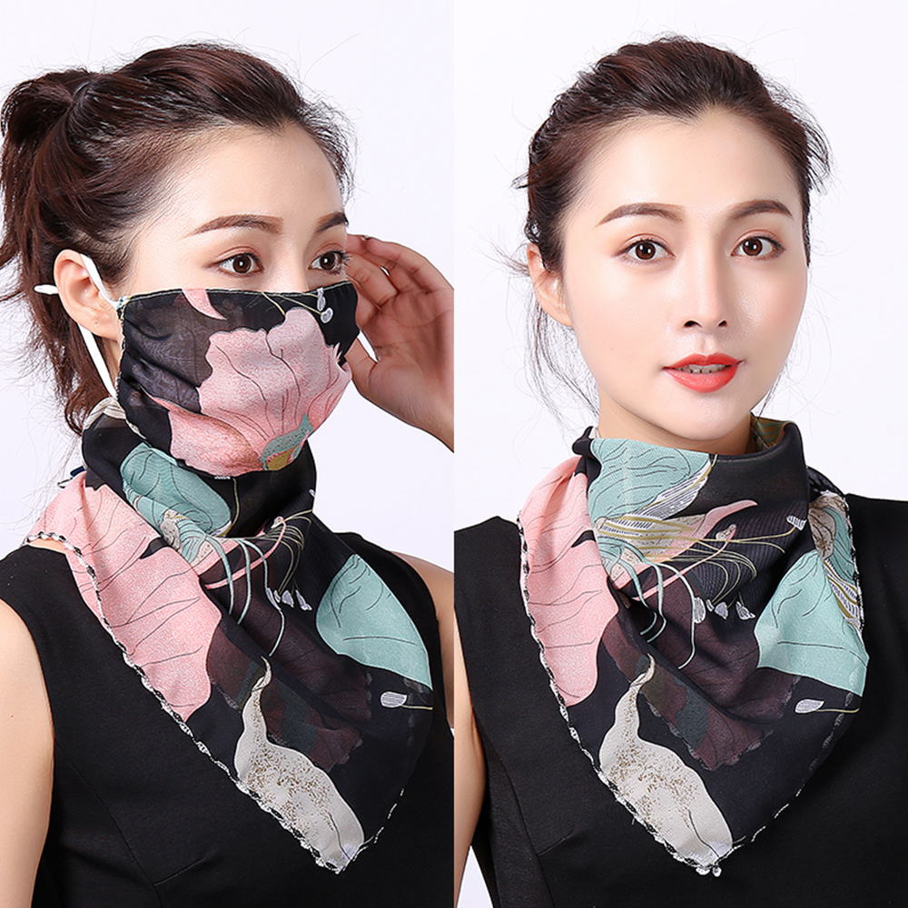 2020 Fashion Women Mouth Mask Lightweight Face Mask Sun Protection Mask Outdoor Riding Masks Protective Silk Scarf Handkerchief