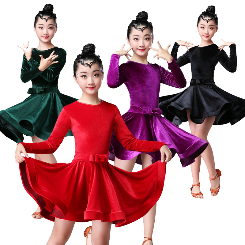 Children Latin Dance Girls Practice Clothes Competition Dance Skirt Girls Autumn And Winter Professional Performance Costumes