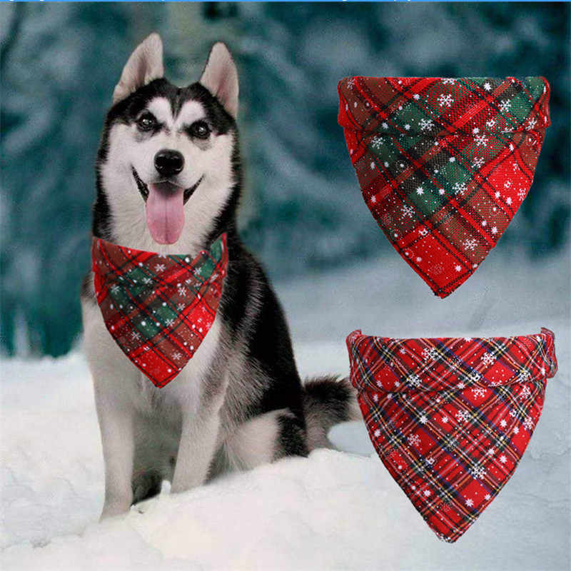 犬のバンダナクリスマス古典的な格子縞のスノーフレークペットスカーフ三角形ビブセット