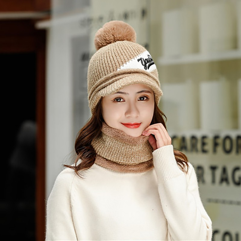 Fashion Cap Female Winter Warm Scarf Set Korean Fashion Knit Beanies Outdoor Riding Wool Skullies