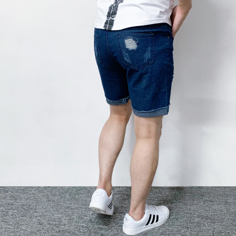 Men's Brand Denim Shorts Casual Knee Length Shorts Men's High Quality Denim Shorts Men's Hole Denim Shorts