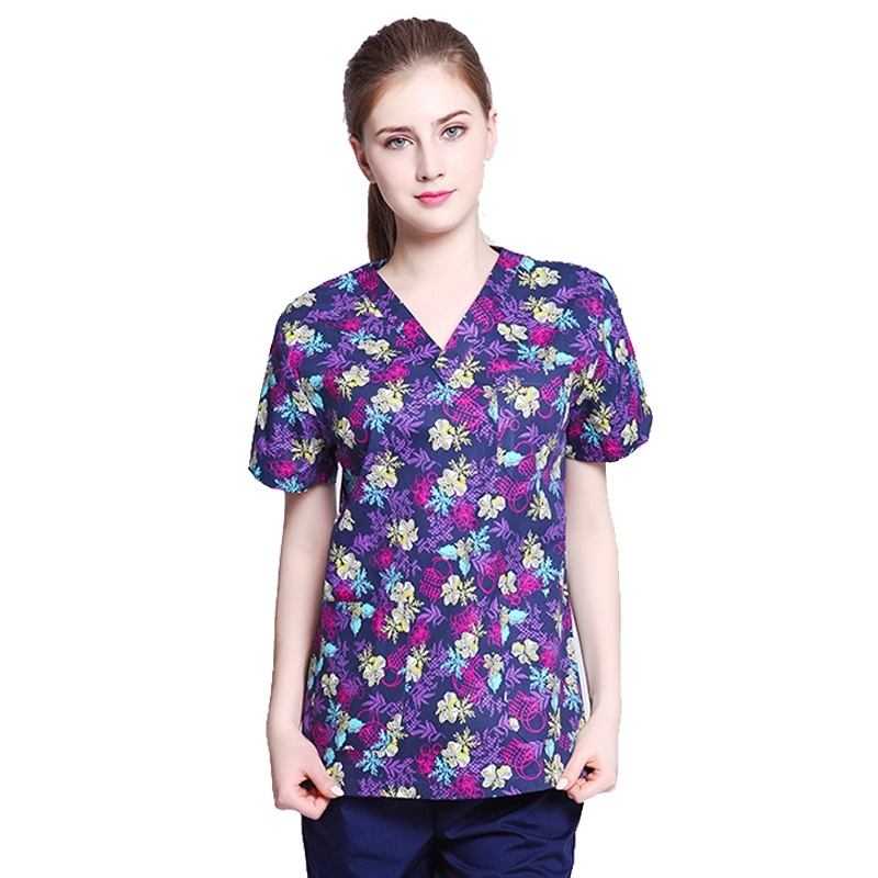 Women Printed Scrub Top Fashion Medical Uniforms Pediatrician Veterinarian Nurse Uniforms V-neck Top ( Just A Shirt)