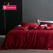 Sondeson Luxury Beauty 100% Silk Wine Red Bedding Set 25 Momme Silk Healthy Skin Duvet Cover Bed Linen Set Queen King For Adult