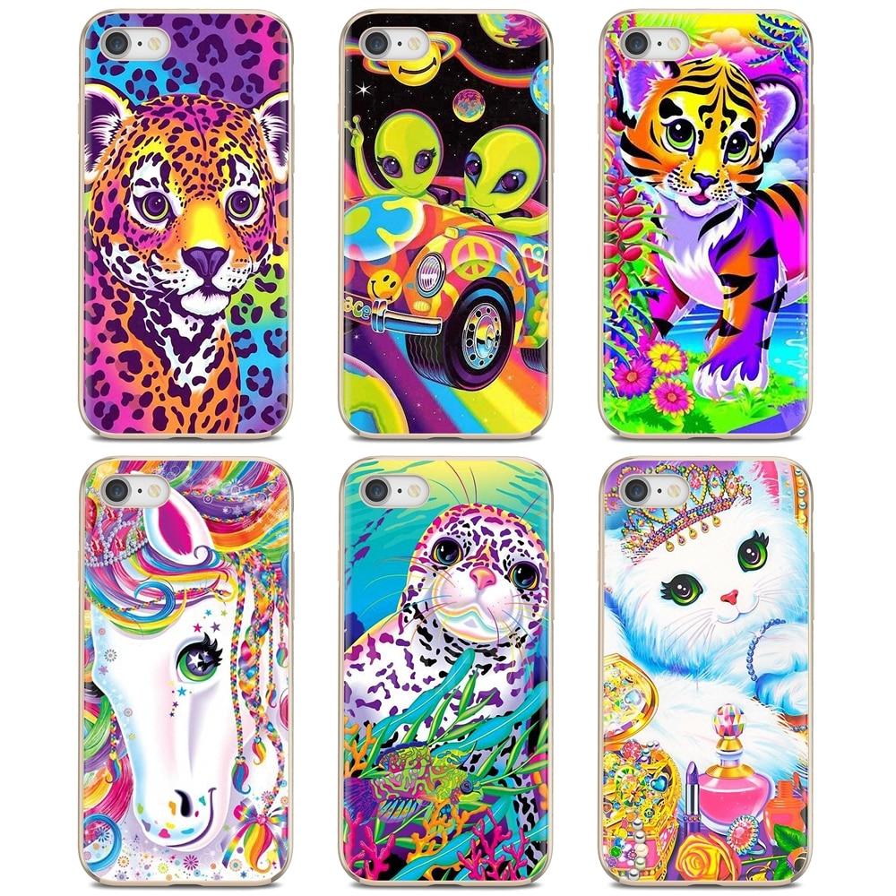 Coque téléphone Silicone Lisa Frank tigre cheval chien chat pour iPhone 11 Pro 4 4S 5 5S SE 5C 6 6S 7 8X10 XR XS Plus Max pour iPod Touch