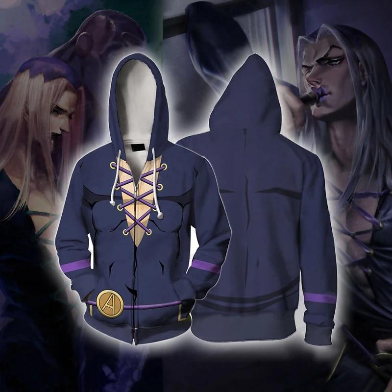 JoJo/'s Bizarre Adventure Giorno Giovanna Anime Zip Hoodie Jacket Cosplay Costume