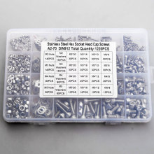 Cup Head Allen Bolt Hex Socket Round Cap Head Screw And Nut Assortment Kit Set M2 M3 M4 304 Stainless Steel Set 1220 pcs