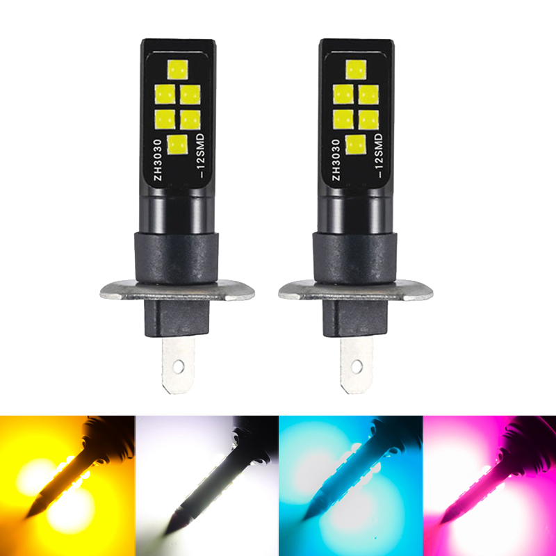 2x H1LED 12SMD 3030 Univeral Bulb Lamp Super bright fog lights headlights daytime running lights For Kia Sportage Ceed Rio 3 4 R image