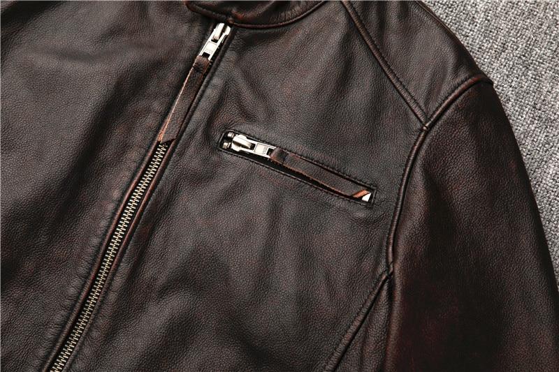 Hedfd2baf522f44aca2d41efcefb570c59 Classic motor style,vintage genuine leather Jacket,fashion men brown Leather coat,street biker coat,sales