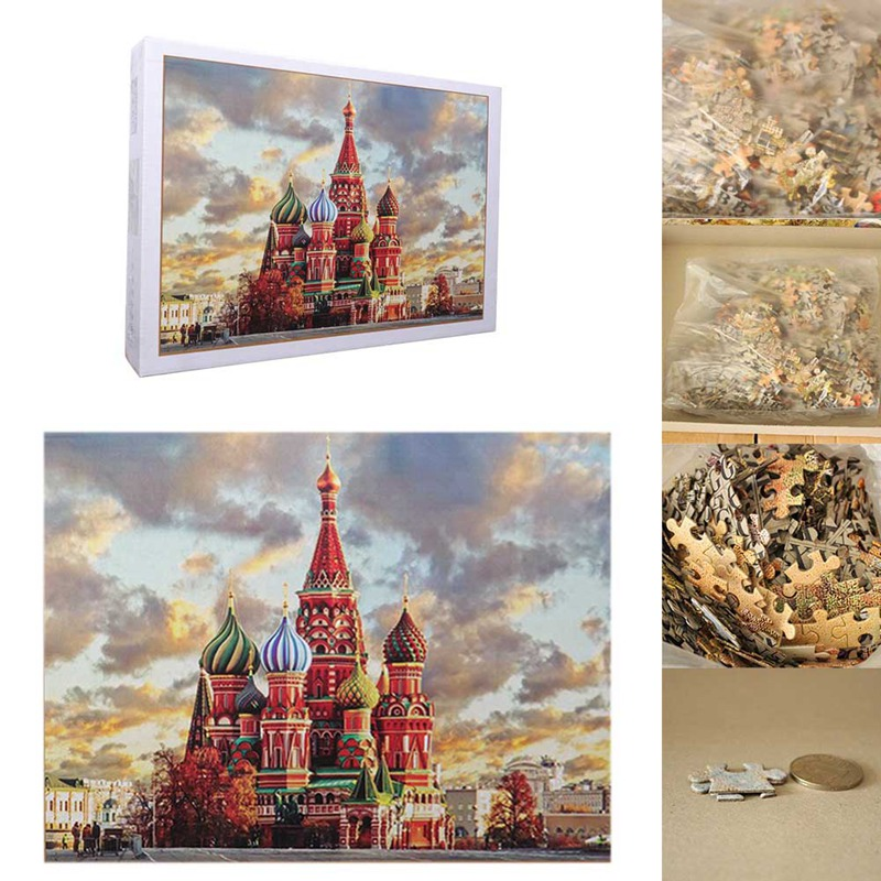1 Set/1000 Pieces Saint Basil's Cathedral Puzzle Adult Children Educational Holiday Gift Puzzle Toy