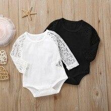 От 6 месяцев до 2 лет детский кружевной комбинезон с длинными рукавами и круглым вырезом; однотонная Одежда для девочек; цвет белый, черный