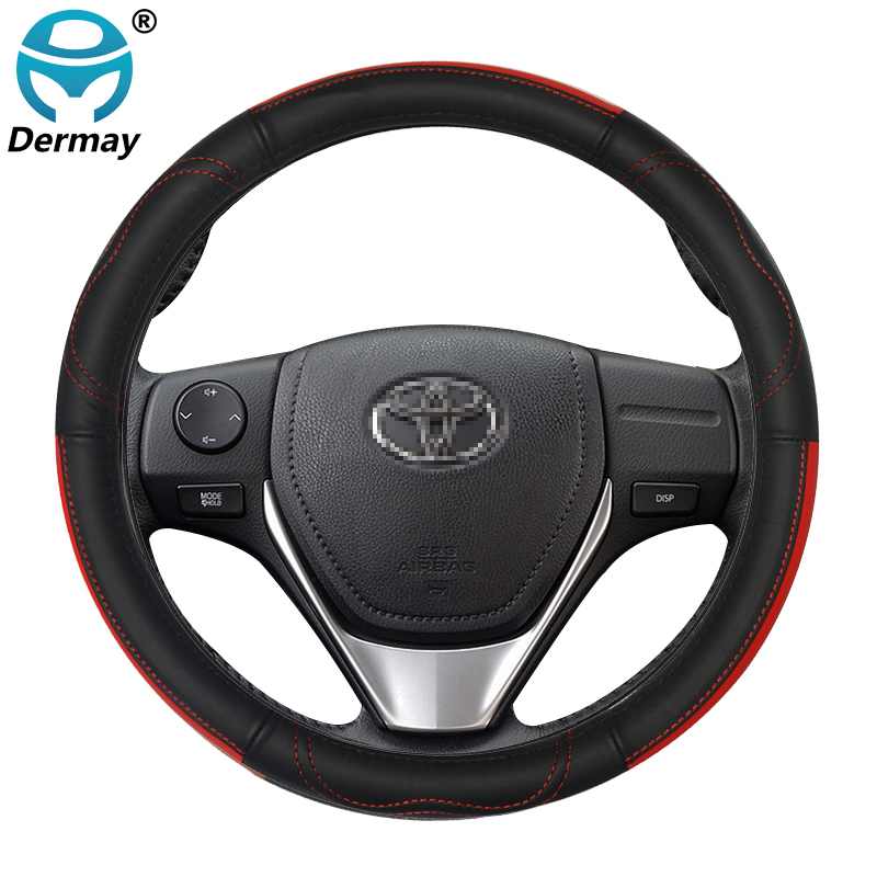 for <font><b>Toyota</b></font> Land Cruiser Prado <font><b>100</b></font> 120 150 200 Genuine Leather Car Steering Wheel Cover L size Auto Accessories image