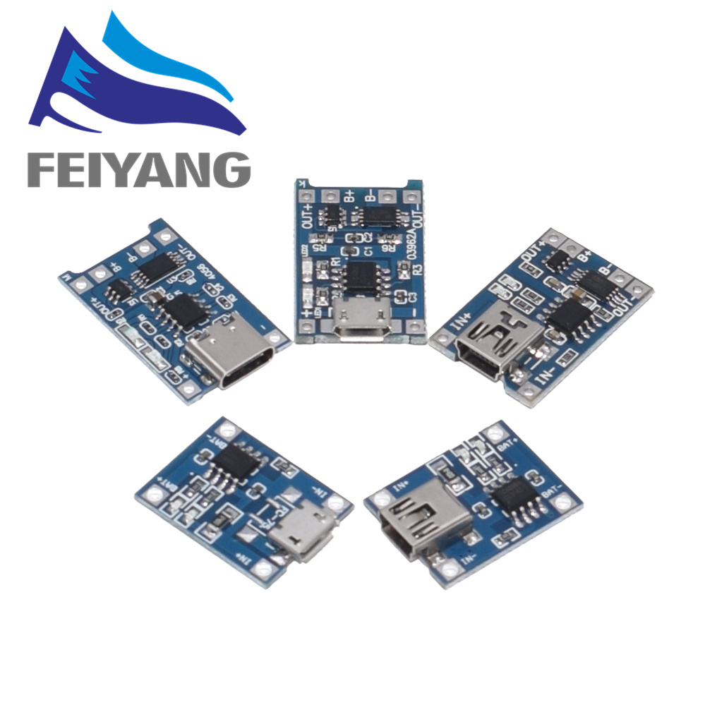 100Pcs Micro USB 5V 1A 18650 TP4056 Lithium Battery Charger Module Charging Board With Protection Dual Functions 1A Li-ion