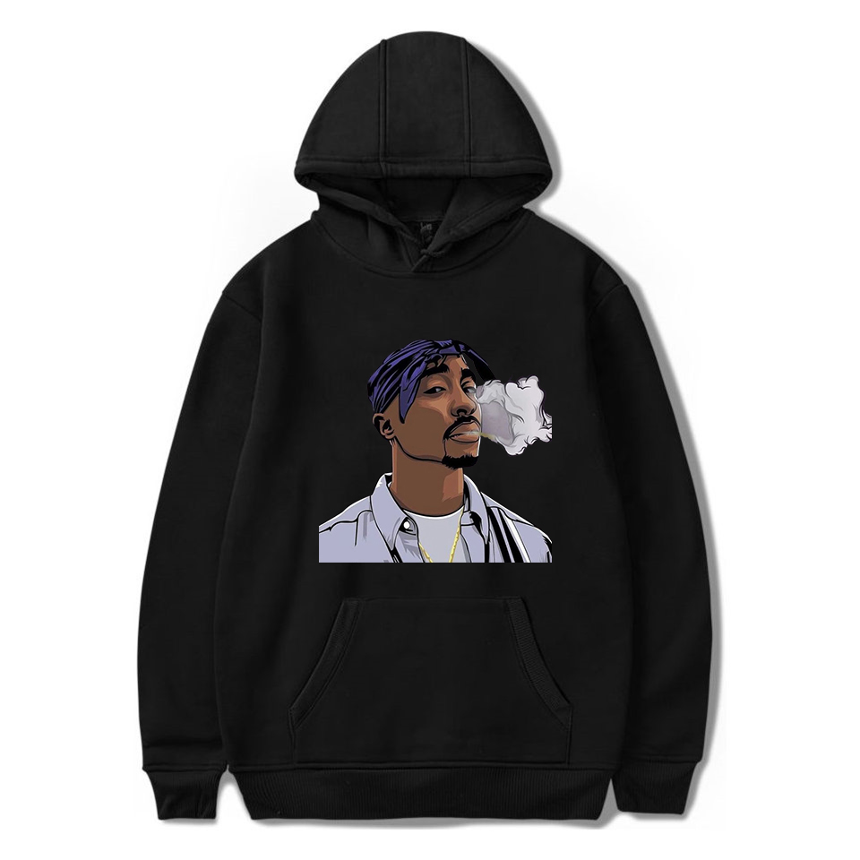 Harajuku Hoodies Men Tupac 2PAC Hip Hop Streetwear Sweatshirt Sudadera Hombre Male Hoodie Polerone Winter Clothes Women