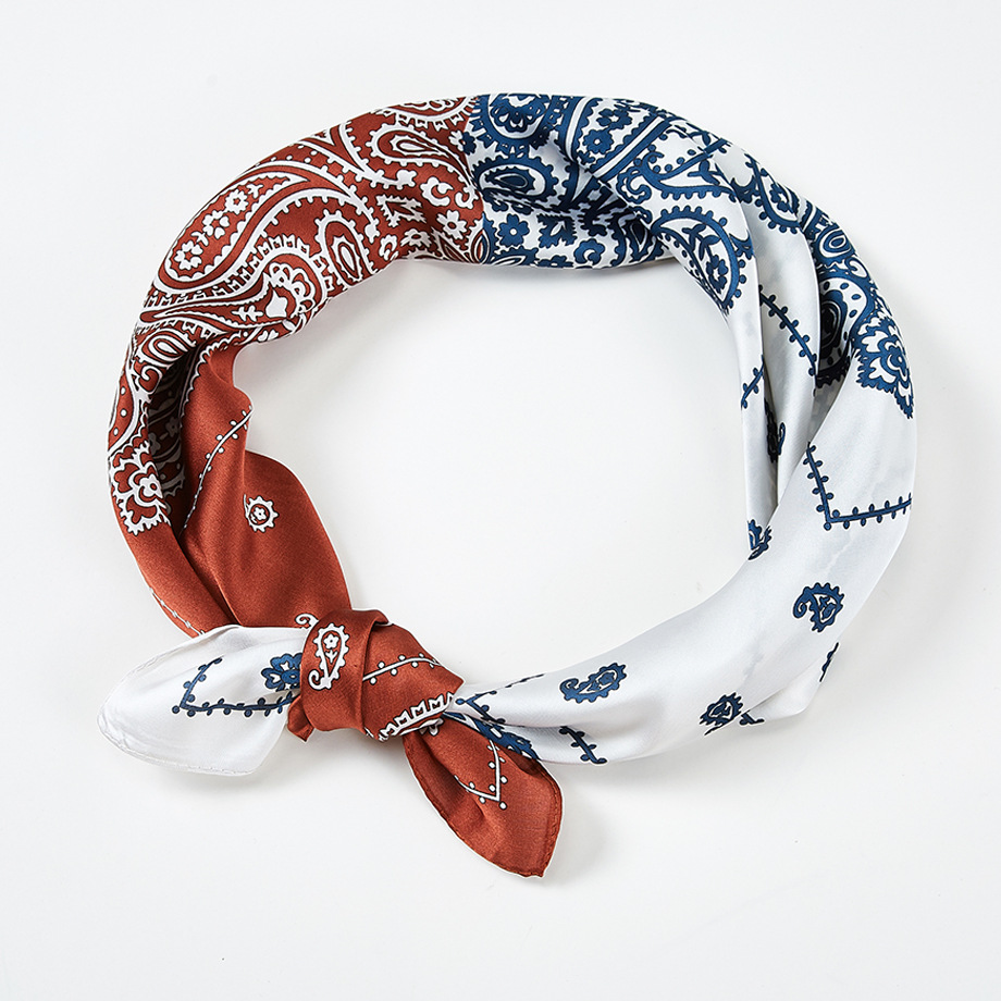 Luna&Dolphin Women Small Square Scarf 70*70cm Chiffon Silk Scarf Vintage Cashew Flower Satin Hair Ties Bands Neckerchief Bandana