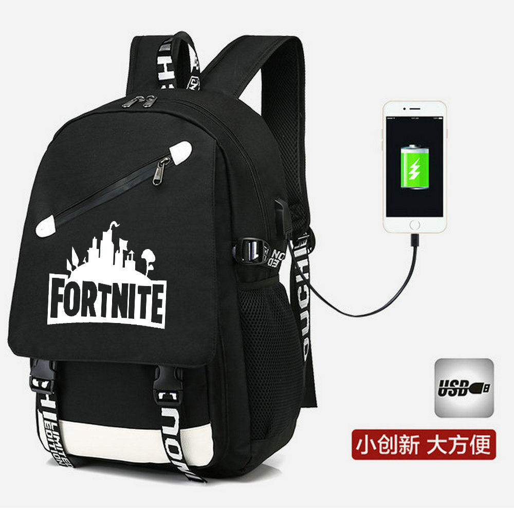 Cross-Border Selling USB Backpack Fortnite Mobilefortress Night Related Backpack Men's And Women's Student School Bag