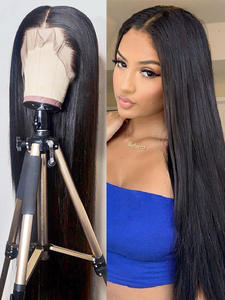 Aircabin Closure-Wigs Human-Hair Lace-Front Glueless 13x6 Straight Black Women 30inch