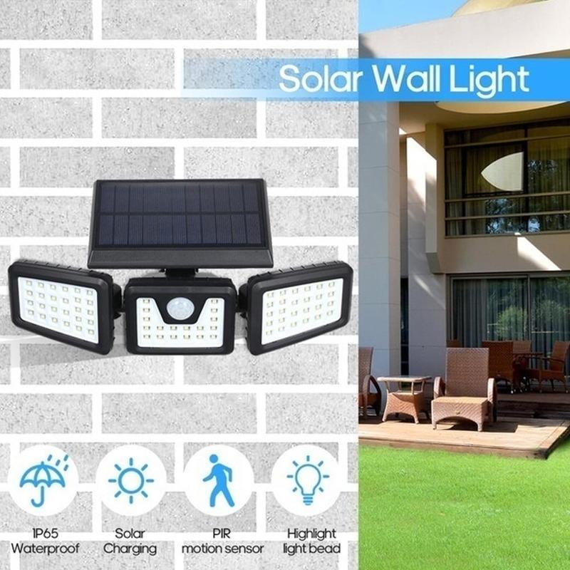 Led solar indução lâmpada de parede luz solar powered pir sensor de movimento luzes ao ar livre jardim lâmpada de parede segurança