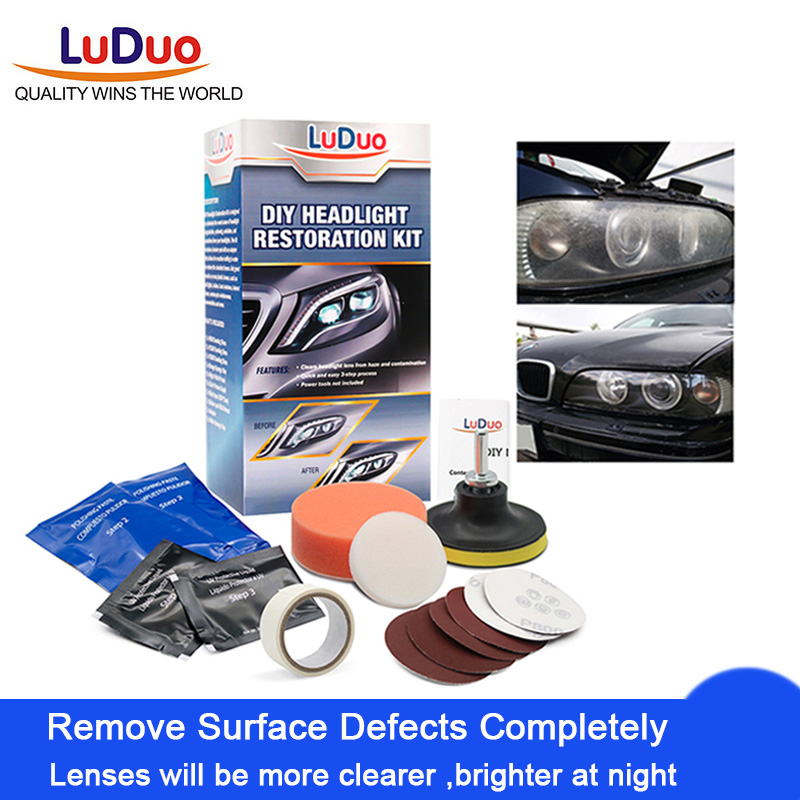 LuDuo DIY Headlight Polishing Restoration Kits Headlamp Clean Paste Systems Car Care Wash Head Lamp Brightener Repair Paint Care