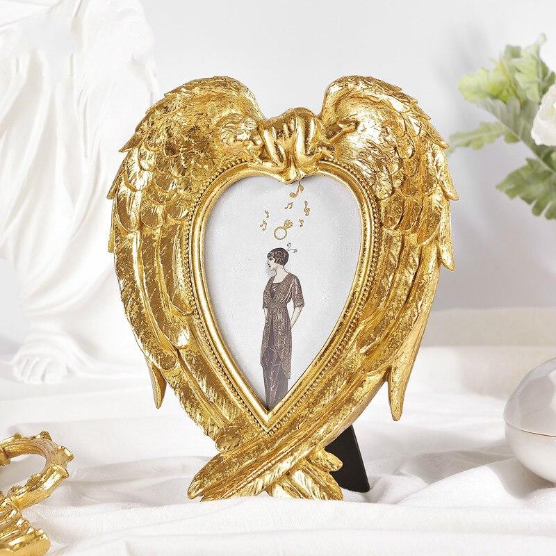 Cadre Photo Baroque Vintage ailes d'ange doré cadre Photo en forme de coeur décoration de bureau