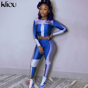 Kliou High elastic print New Seamless Fitness tracksuit Two-piece set Woman long-sleeve top Gym Leggings slim Sportswear Suits