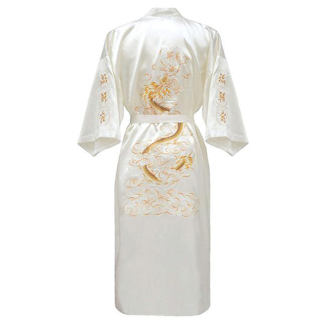 Повседневная мужская пижама с коротким рукавом, кимоно, платье, изысканная вышивка, Свадебный халат с драконом, летняя Мягкая атласная ночная рубашка, домашняя одежда, пижама - Цвет: White A