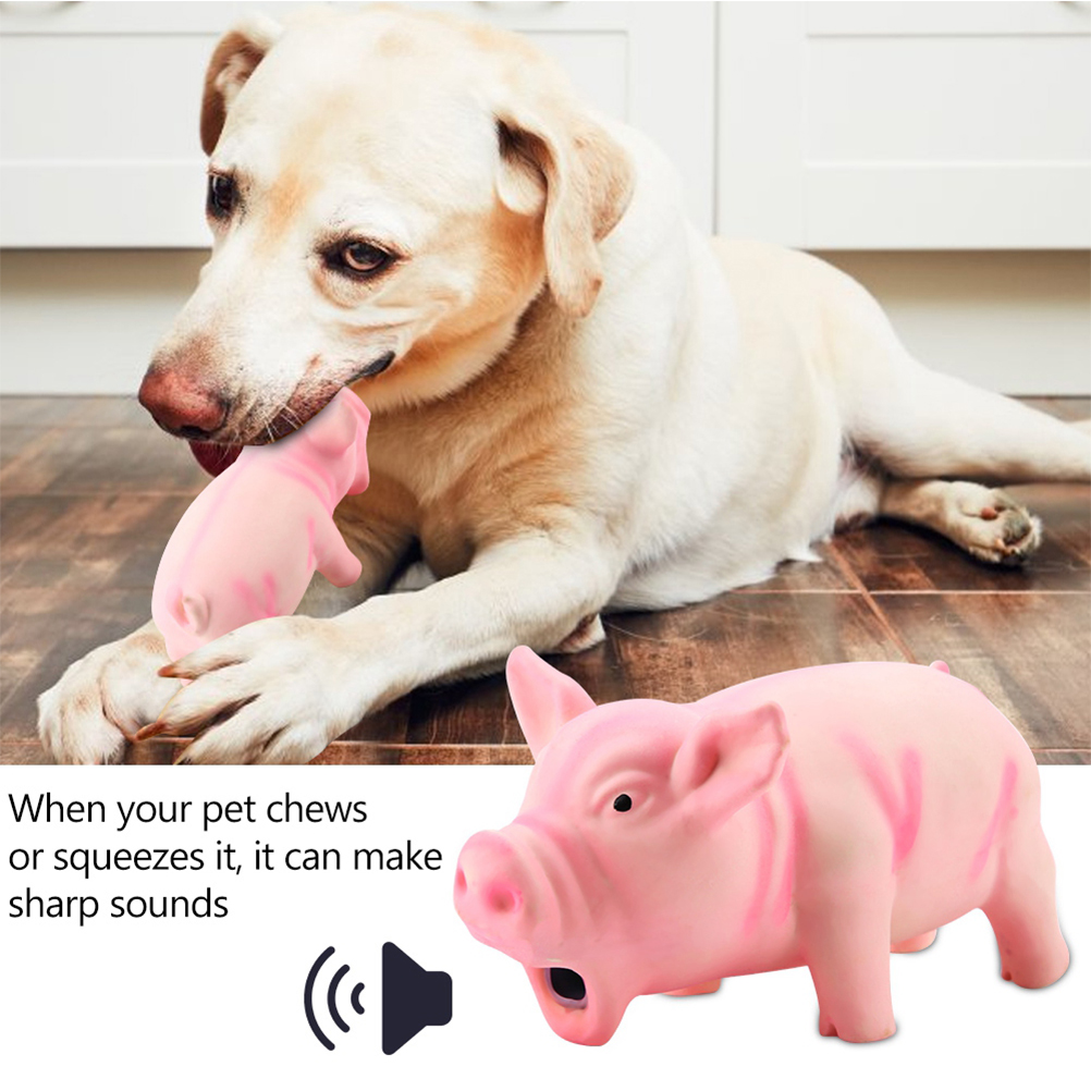 Cute Latex Pig Grunting Toy Pet Chew Teeth Grinding Toys For Dog Training Black Yellow Pink Pets Dog Squeeze Sound Toy(China)