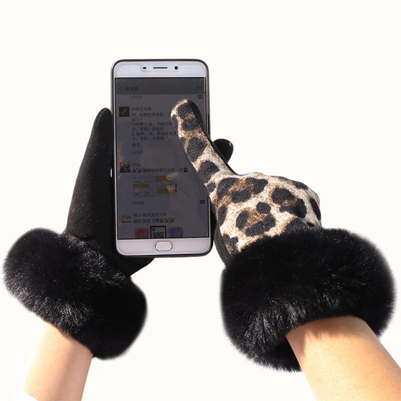 Fashion Personality Leopard Spot Soft Plush Touch Screen Ladies Gloves Plus Velvet Driving Inside To Keep Warm And Cold D69