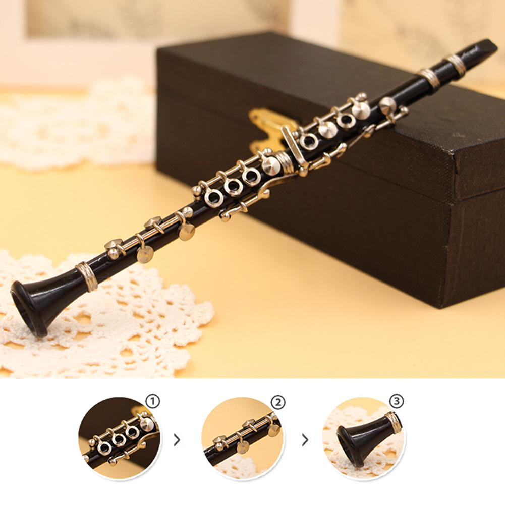 Mini Clarinet Model Musical Instrument Miniature Desk Decor Display Models Ornament With Black Leather Box + Bracket