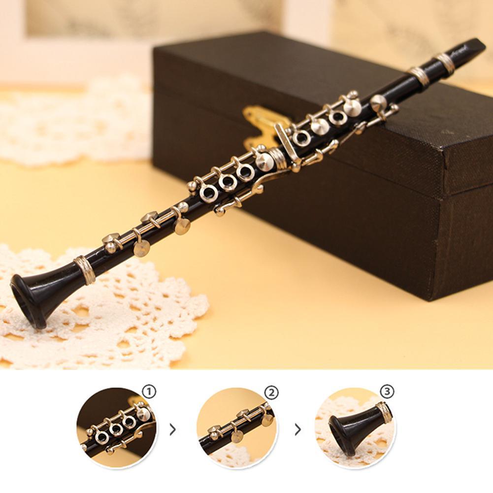 Mini Clarinet Model Musical Instrument Miniature Desk Decor Display Models Ornament With Black Leather Box + Bracket