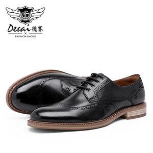 Image 3 - Desai Luxus Echtes Leder Männer Formale Schuhe Spitz Top Qualität Kuh Leder Oxford Männer Kleid Schuhe Größe