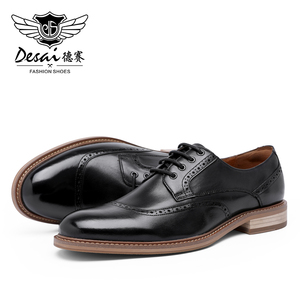 Image 3 - Desai luxe en cuir véritable hommes chaussures formelles bout pointu haut qualité en cuir de vache Oxford hommes chaussures habillées taille