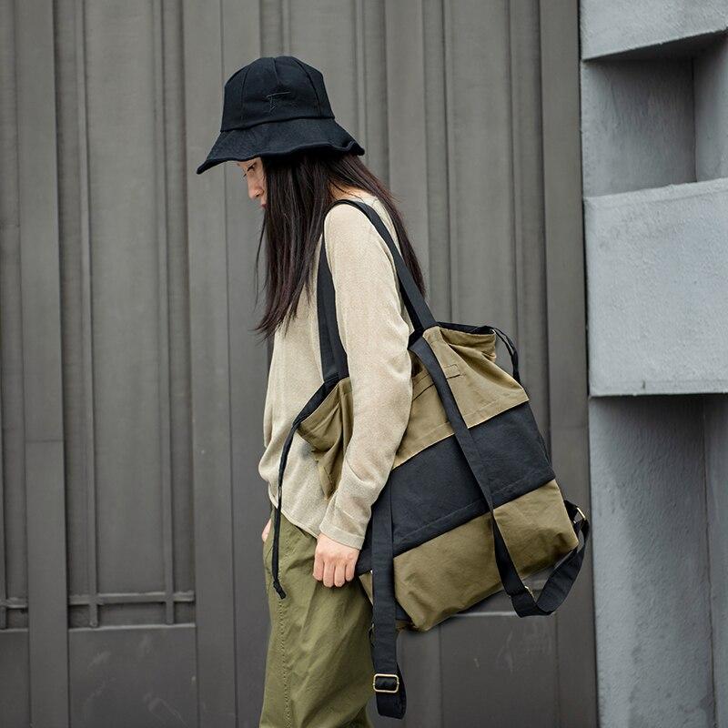 Women's Washed Cotton Large Shoulder Hand Bag Stitching Color Drawstring Travel Tote Bag Bolso Original Design