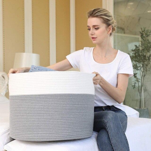 2020 nouveau pliable facile propre paniers de rangement coton corde tissé décrochage panier de rangement jouet débris stockage vêtements sale chapeau panier