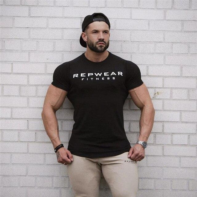 2020 New summer shirt cotton gym fitness men t-shirt brand clothing Sports t shirt male print short sleeve Running t shirt 1