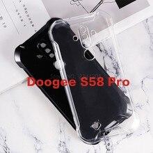 Caso de telefone transparente para doogee s58 pro silicone caso tpu preto macio para carcasa para celular doogee s58 s58pro capa traseira