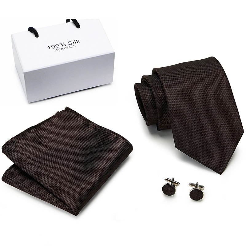 New Fashion Classic Solid Plain Brown  Men Tie Pocket Square Cufflinks Set Black Blue Green  Silk Necktie Suit Wedding Business