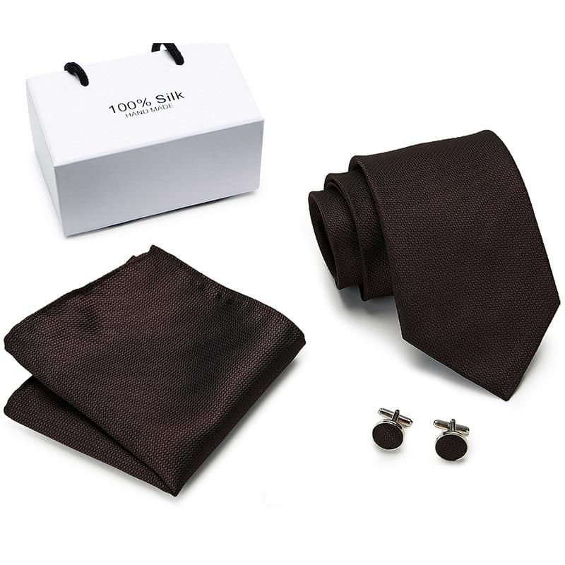 New Fashion Classic Solid Plain Brown  Men Tie Pocket Square Cufflinks Set Black Blue Green  Silk Necktie Suit Wedding Business