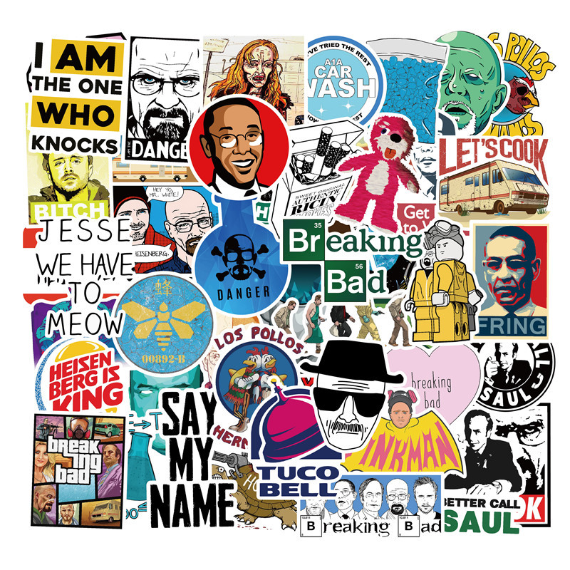50PCS U.S. Drama Breaking Bad Stickers Graffiti Stickers For Luggage Skateboard Phone Laptop Bicycle Wall Guitar Scrapbooking F4