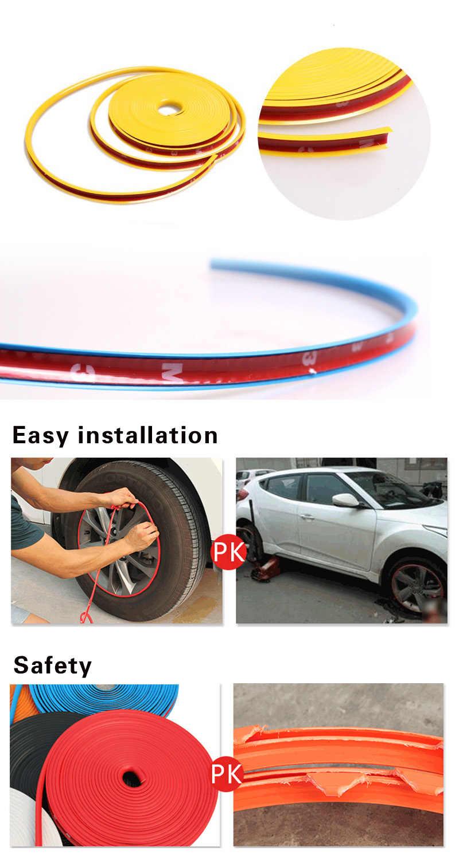 8 M/Roll Auto Styling Rad Felgen Protector Decor Streifen Rubber Moulding Trim IPA Rimblades Auto Fahrzeug Farbe Reifen schutz Linie