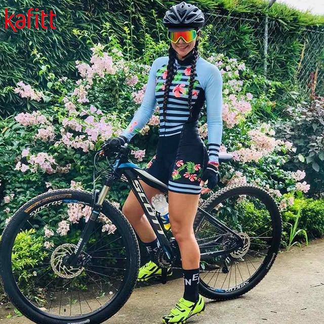 Kafitt triathlon terno conjuntos de camisa de ciclismo feminino uniforme manga longa skinsuit macacão macaquinho ciclismo feminino 4