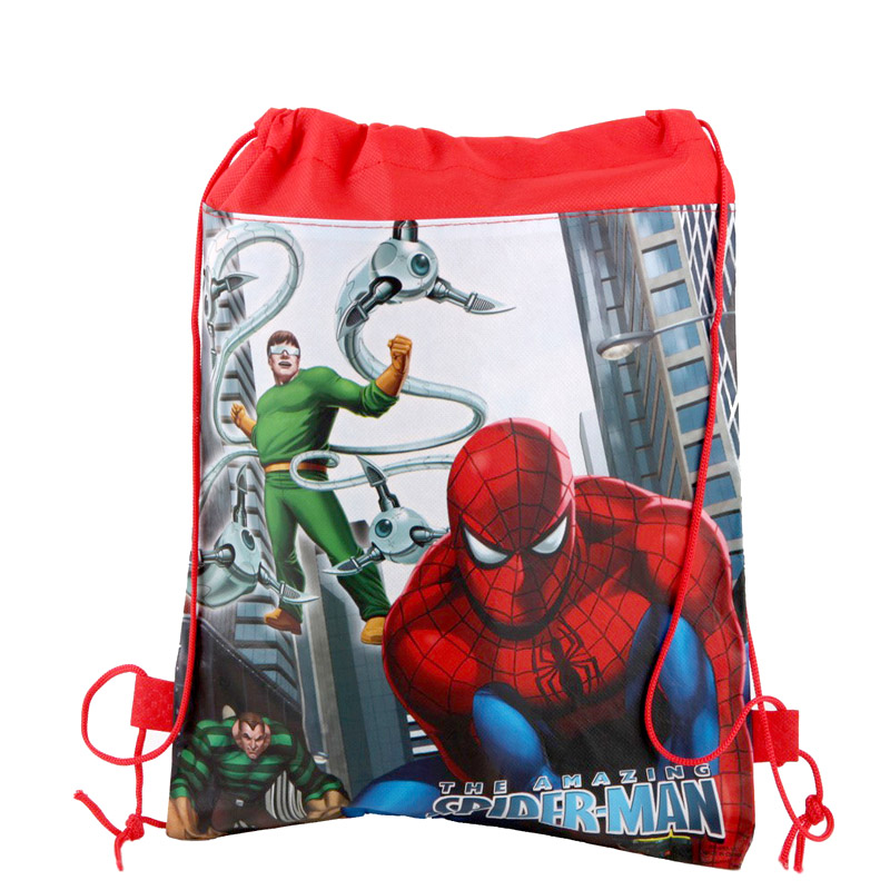 1PCS Birthday Party Decorate Baby Shower Spiderman Drawstring Gifts Bags Boys Favors Spider Man Theme Non-woven Fabric Backpack