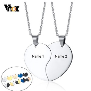 Vnox Free Engraving Name Couples Necklaces Stainless Steel His and Hers Heart Pendant Love Promise Anniversary Gifts
