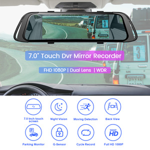 Image 2 - E ACE Car DVR 7.0 Inch Touch Video Recorder Mirror Camera FHD 1080P Dual Lens with Rear View Camera Auto Registrator Dash Cam