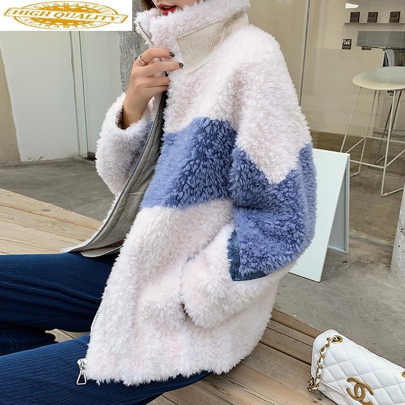 Real Fur Coat Women Sheep Shearing Autumn Winter Coat Women Korean Short 100% Wool Jacket Women Clothes 2019 A99130 YY1944
