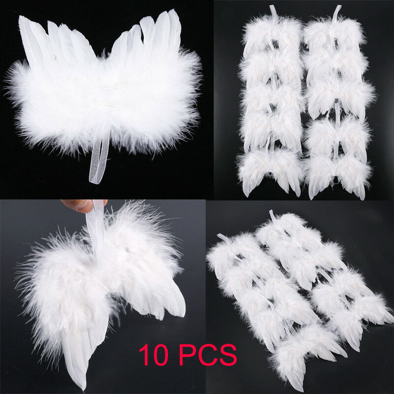 Home/Party/Wedding Ornaments Xmas Decor 10Pcs White Feather Wing Lovely Chic Angel Christmas Tree Decoration Hanging Ornament